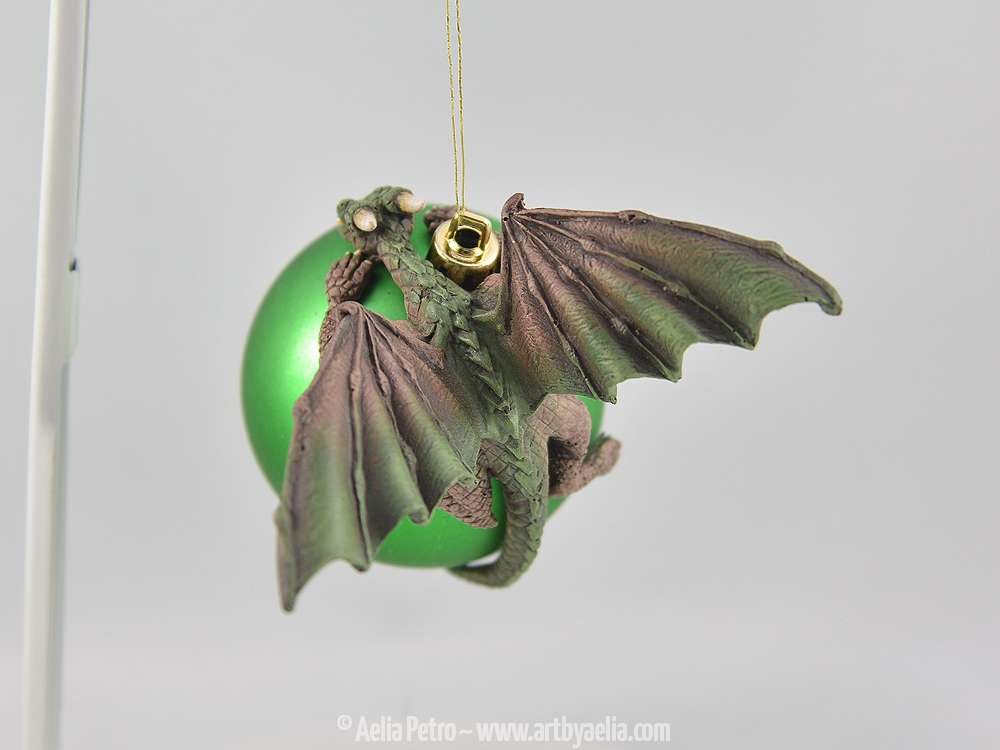 Dragon Draper Ornament - Earth Elemental Dragon on a Green ...
