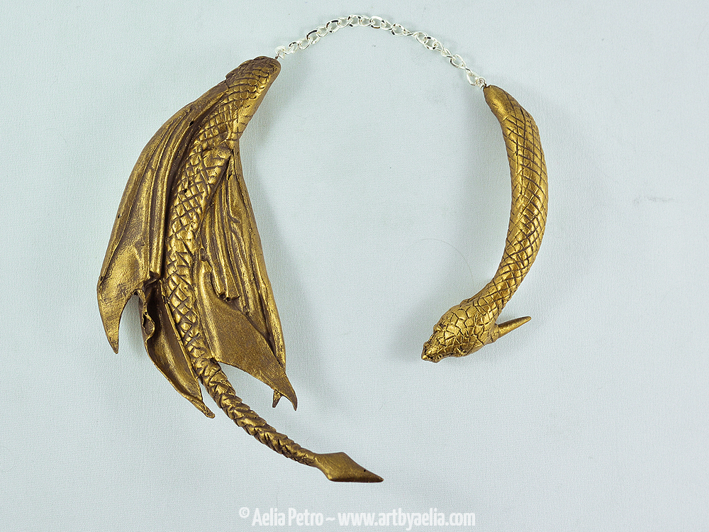 Antique Gold Dragon Draper Necklace